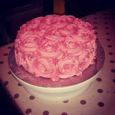 Rose cake. #pink #rose #buttercream #cake #homemade #baking