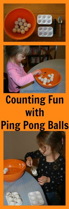 Mess For Less: Fun Math Games: Counting Fun with Ping Pong Balls #earlylearning #math #grossmotorskills