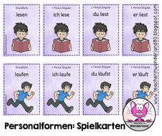 Teacher In Wonderland: Verben und ihre Personalformen: Quartett-Spielkarten
