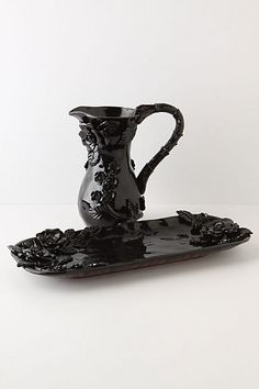 black rose glass pitcher + tray