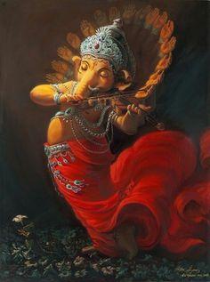 Ganesha playing the violin Ganesha Drawing, Lord Ganesha Paintings, Ganesha Art, Shiva Art, Hindu Kunst, Hindu Art, Ganesha Pictures, Ganesh Images, Om Gam Ganapataye Namaha
