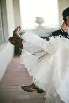cowboy boots with wedding dress- a must!