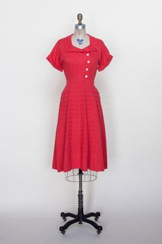4f0c00d1efa7 1950s red linen dress from Dalena Vintage 1940s Dresses, Linen Dresses, Day  Dresses,