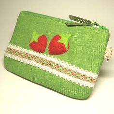 StrawBerry, Green Appliqued Laced Linen Zipper Pouch
