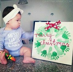 Christmas Crafts for infants Handprint/Footprint Christmas Wreath Craft - Crafty Morning Baby Christmas Crafts, Babies First Christmas, Christmas Projects, Kids Christmas, Holiday Crafts, Holiday Fun, Merry Christmas, Christmas With Baby, Christmas Wreaths