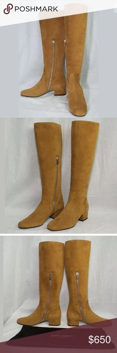 New YSL Saint Laurent Tobacco Suede Boots size 7.5 New in Box YSL Saint Laurent Babies 40 knee high Tobacco Suede Boots in a size 7.5. Authenticity is guaranteed. Saint Laurent Shoes Over the Knee Boots
