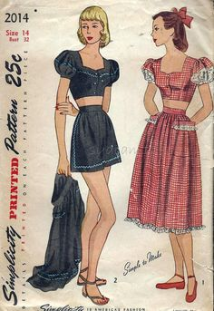 Simplicity 2014 © 1947 Vintage 1940s Playsuit Pattern Button Front Midriff Top