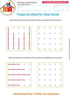 Ejercicio 1: Trazos de simetría para desarrollar la memoria y la atención. Copia las líneas verticales de forma simétrica guiándote por los puntos.