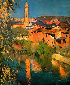 Joaquim Mir was a Catlonian painter who specialized in landscapes -- landscape paintings that caught my eye in more than one Spa. Spanish Painters, Spanish Artists, Landscape Artwork, Urban Landscape, Environment Painting, Principles Of Art, Impressionist Paintings, Traditional Paintings, Gravure