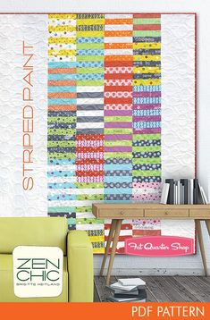 Striped Paint Downloadable PDF Quilt Pattern<BR>Zen Chic