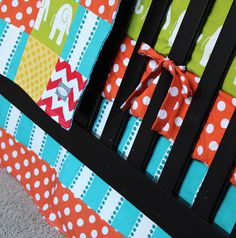 Custom Baby Bedding - Green, Turquoise, Yellow, Red Elephant and Giraffe Crib Bedding by GiggleSixBaby on Etsy https://www.etsy.com/listing/177916865/custom-baby-bedding-green-turquoise