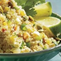 Quinoa With Latin Flavors Cilantro, Lime And Scallions Lend A Bright Finish To Delicate Quinoa. This Versatile Side Pairs Well With Seafood, Poultry Or Pork. I Love Food, Good Food, Yummy Food, Healthy Cooking, Healthy Eating, Cooking Recipes, Healthy Food, Healthy Habits, Cooking Tips