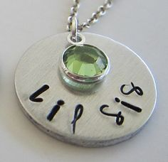 Hand Stamped Personalized Lil Sis Necklace with by kimgilbert3