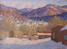 "Carl von Hassler (1887-1969) Sundown in Winter, March 27, 1939 Oil on Canvas 18 x 24 Signed Verso ""Region, Foothills of Sangre de Christo Range, N.M."""
