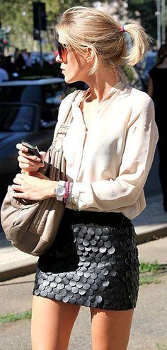 Matte black mini skirt + ivory blouse #streetstyle - sexy