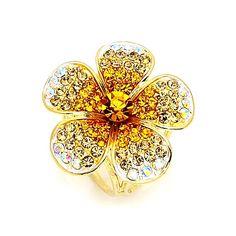 Prsteň na šatku - Ligotavý kvet - pomarančový