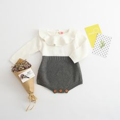 2018 Spring Autumn Baby Girls Peter Pan Collar Rompers Knitted Woolen Yarn Babysuit Children Kids Infant Solid Clothing