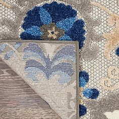 Nourison Aloha 10' Runner Blue Patio Area Rug | Ashley Furniture HomeStore Blue Patio, Coastal Area Rugs, Summer Shades, Plush Pattern, Polypropylene Rugs, Shades Of Gold, Indoor Outdoor Area Rugs, At Home Store, Bohemian Rug