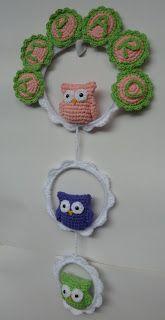 """Artesanal"" Diseño en Tejidos: Cartel de Nacimiento / Bienvenida al crochet Fun Crafts For Kids, Crafts To Sell, Diy And Crafts, Owl Patterns, Crochet Patterns, Macrame Owl, Owl Charms, Holiday Crochet, Diy Crochet"