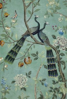 10 of the best new fabrics and wallpapers: De Gournay 'St Laurent' paper.