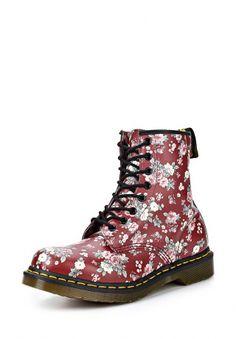 Ботинки Dr. Martens, цвет: бордовый, красный, принт цветы на обуви