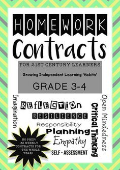 NO PREP! Weekly Homework for Grade 3 or Grade 4 students for a WHOLE YEAR!These 32 contracts are ORIGINAL and allow for students to choose some of the direction of their learning. Each weekly contract can be glued into a learning journal or scrapbook.