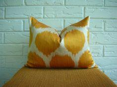"Ikat Pillow Cover Decorative Lumbar Yellow Orange Gold Ivory Large Dot Silk Cotton Bohemian Chic Boho 12 x 15"""