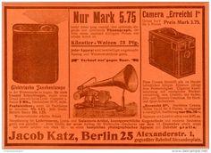 Original-Werbung/Inserat/ Anzeige 1902 - TASCHENLAMPE/PHONOGRAPH/ CAMERA JACOB KATZ BERLIN ca. 190 x 130 mm