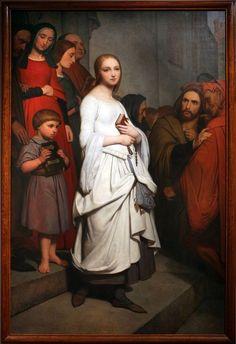 "flyse: "" Marguerite Leaving Church, Ary Scheffer (Dutch-French, 1838 Oil on canvas "" Dutch Artists, French Artists, Klimt, Gabriel, Charles Gounod, Jules Cheret, Goethe's Faust, Albrecht Dürer, Aubry"