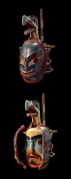 Haida transformation mask, C. Arte Inuit, Arte Haida, Haida Art, Inuit Art, Arte Tribal, Tribal Art, African Masks, African Art, Native American Masks
