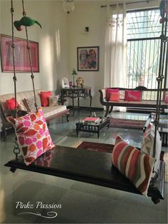 Pinkz Passion : Strong and bold Indian flavors (Home Tour of Viji Jayaraman) - Mylittlemoppet - Indian Living Rooms Ottoman In Living Room, Living Room Seating, Home Living Room, Living Room Decor, Dining Room, Home Room Design, Home Interior Design, Living Room Designs, Hall Interior