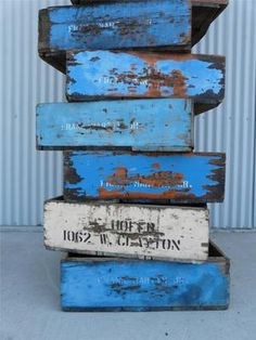 10 Old Vineyard Wood Crates Grape Lugs Rustic Painted Farm Orchard Primitive Box