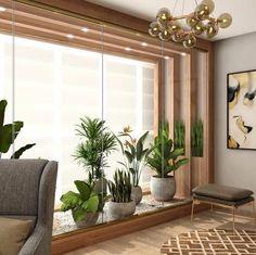 Jardim de inverno na sala: 50 ideias para você se inspirar Home Design Decor, Home Room Design, Home Interior Design, Interior Architecture, House Design, Sala Grande, Interior Garden, Rustic Interiors, Inspired Homes