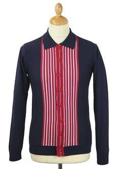 Madcap England Retro Mod 'Cassius' Button through Polo top in Navy. Retro Mod men's clothing by Madcap England. Retro Candy, 60s Mod, England Fashion, Candy Stripes, Mod Fashion, Knit Shirt, Polo T Shirts, Retro Outfits