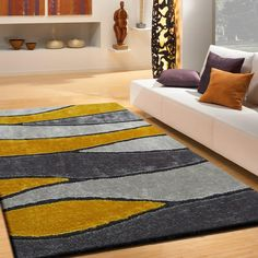 Rug Factory Plus, Living Shag Collection, Design 120 Gray & Yellow Area Rug Yellow Rug, Yellow Area Rugs, Grey Yellow, White Area Rug, Beige Area Rugs, Grey Rugs, Unique Rugs, Cool Rugs, Rugs On Carpet