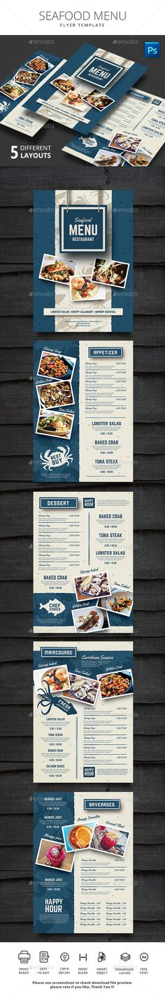 Seafood Restauran Menu Design Template - Food Menus Print Template PSD Template. Download here: ...