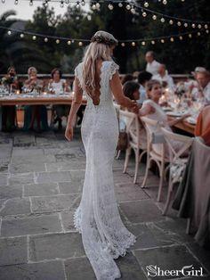 Boho Mermaid Lace Beach Wedding Dresses Cap Sleeve Bohemian Bridal Gown - Unlikely wedding - Hochzeitskleid Wedding Dresses Near Me, Backless Mermaid Wedding Dresses, Lace Beach Wedding Dress, Bohemian Wedding Dresses, Mermaid Dresses, Cheap Wedding Dress, Boho Dress, Bridal Dresses, Party Dresses