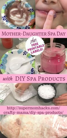 What's the only thing better than a mother-daughter spa day with your little girl(s)? A spa day with homemade DIY spa products - bonding time that's fun AND inspiring! # spa day at home for girls diy Mother-Daughter Spa Day with DIY Spa Products Spa Day For Kids, Spa Day At Home, Diy For Kids, Crafts For Kids, Baby Crafts, Mothers Day Spa, Diy Mothers Day Gifts, Mother Daughter Crafts, Mother Daughter Activities