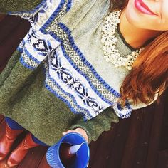 Green and Blue Oversized Sweater