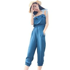2017 Summer Fashion Casual Solid Color Long Jumpsuit Romper Women Sexy Sling Straight High Waist Streetwear Sashes Playsuit