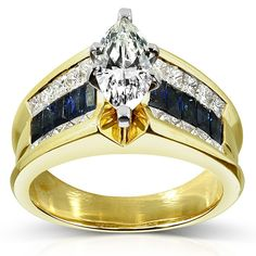 Marquise Diamond & Blue Sapphire Engagement Ring 2 3/4 Carat (ctw) in 18k Yellow Gold - $5,950.00 SAVE $2,800.00 *note: links to external affiliate site Kobelli Fine Jewelers. #rings #diamond #blue #sapphire #yellow #gold #engagement #jewelry #jewels #jewelers #gems #gemstones #rings #fine #luxury #premium #anniversary #birthday #gifts #marriage #wedding #womens #fashion #glamour #glamourous #beautiful #fancy #firstclass #classy #ladies #lady #queen #royal #royalblue #special #sale #forsale…