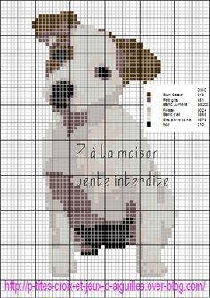 Jack Russell X-stitch pattern Cross Stitch Charts, Cross Stitch Designs, Cross Stitch Patterns, Cross Stitching, Cross Stitch Embroidery, Embroidery Patterns, Dog Chart, Canvas Designs, Dog Pattern