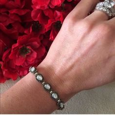 🎉HP🎉S.S.,marcasite, mother of pearl This beautiful bracelet is sterling silver, marcasite, and mother of pearl. Stamped 925. Bracelet measures a little over 7.5 inches. Please refer to all pictures. Any questions please ask 🎉HOST PICK- Classic Chic Party🎉 Jewelry Bracelets