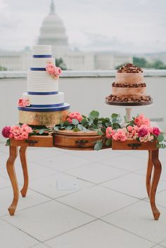 White Wedding Cake and Reese's Peanut Butter Cup Groom's Cake via Marvelous Things Photography - Deer Pearl Flowers / http://www.deerpearlflowers.com/wedding-cakes-desserts/white-wedding-cake-and-reeses-peanut-butter-cup-grooms-cake-via-marvelous-things-photography/