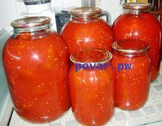 Помидоры очищенные в собственном соку   Ингредиенты:   3 кг зрелых мелкоплодных помидоров,   2 кг крупных зрелых помидоров,  50 г сахара,  80 г соли.   Приготовление:   1. Спелые, но неповрежденные помидоры нарезать и пропустить через соковыжималку.  2. Сок слить в эмалированную посуду, посолить (на 1 л жидкости – 1 столовая ложка соли) и довести до кипения.  3. Мелкие мясистые помидоры опустить в дуршлаге на 1-2 минуту в кипящую воду, быстро вынуть и погрузить в холодную воду.  4…