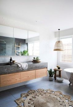 Australian Coastal Style – 7 steps to achieve this look – Making your HOME beaut… Grey Bathrooms, Beautiful Bathrooms, Modern Bathroom, Master Bathroom, Bathroom Mirrors, Bathroom Rugs, Small Bathroom, Bathroom Lighting, Decor Inspiration