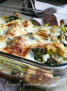 Broccoli gratinati al forno Broccoli Pasta, Broccoli Recipes, Bacon Recipes, Veggie Recipes, Kitchen Recipes, Cooking Recipes, Ground Beef Recipes, Vegetable Dishes, I Love Food