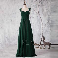 2017 Dark Green Bridesmaid dress, Long Sweetheart Wedding dress, Double Straps Prom dress, Hollow Back Maxi dress floor length (G157)
