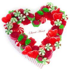 Un corazón de chuches rojo y dulce