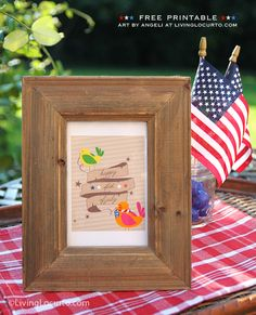 4th of July Patriotic Party Tag or framed art. Free Printable design by Angeli for LivingLocurto.com